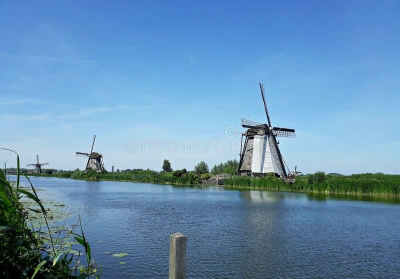 Traditional Dutch windmills at Kinderdijk, Holland. Beautiful landscape with green grass and traditional Dutch windmills on the shore of a river in Kinderdijk stock photography
