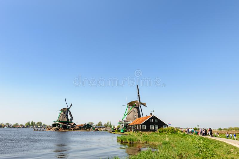 Traditional Dutch windmills in Zaanse Schans, Netherlands royalty free stock images