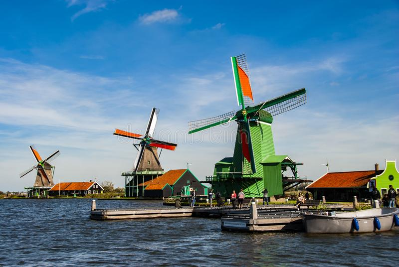 Traditional Dutch windmills in Zaanse Schans in Netherlands stock images