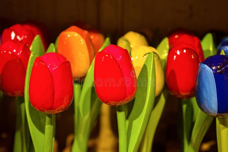 Traditional Dutch Wooden painted colorful tulips in souvenir shop.  stock image