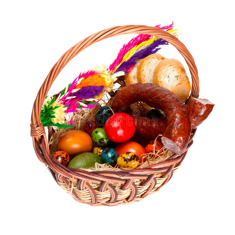 Traditional Easter basket with food. Isolated on white stock photos
