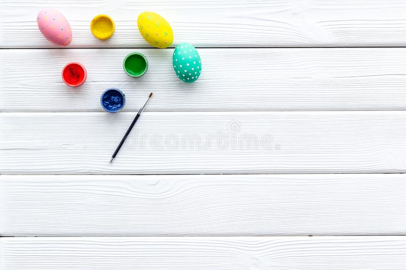 Traditional Easter eggs for paint on white wooden background top view space for text royalty free stock photos