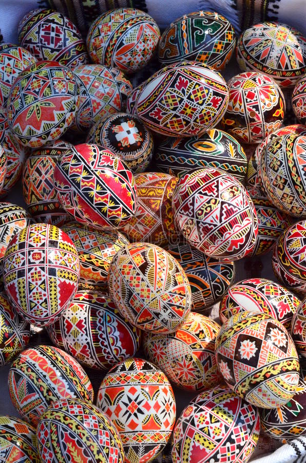 Traditional Easter handmade eggs stock photos