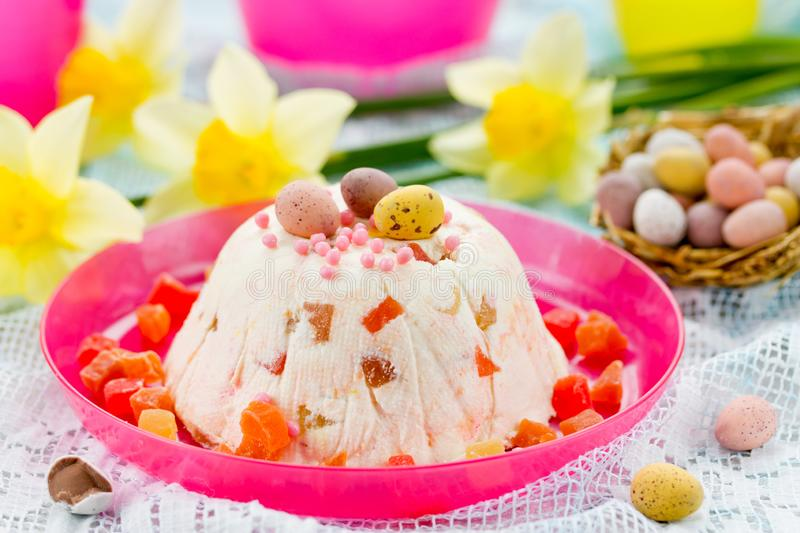 Traditional Easter molded dessert paska made from cottage cheese royalty free stock photography