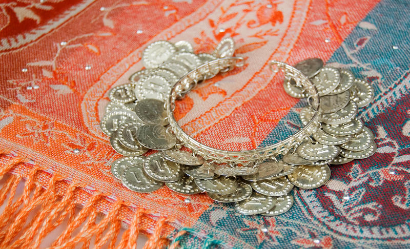 Traditional eastern scarf and bracelet stock image