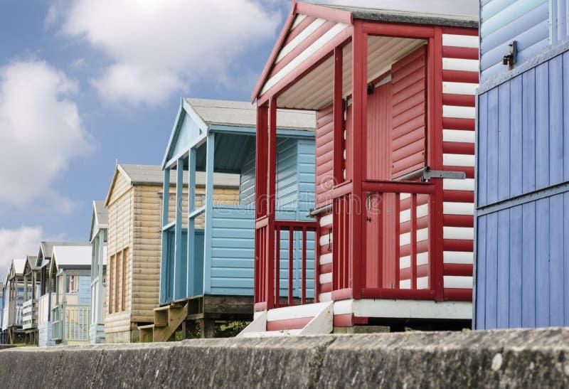 Traditional English Beach Huts Royalty Free Stock Photography