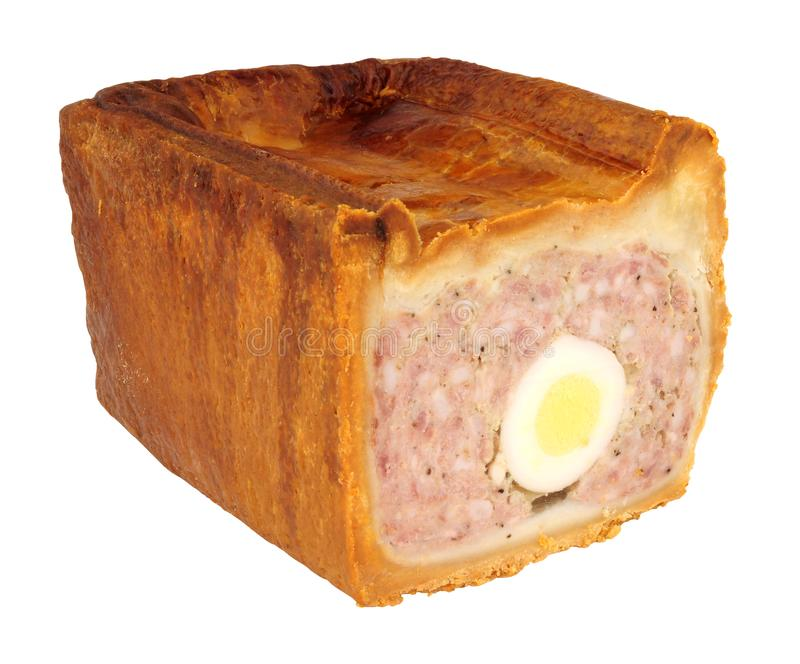 Traditional English Egg Gala Pork Pie stock image