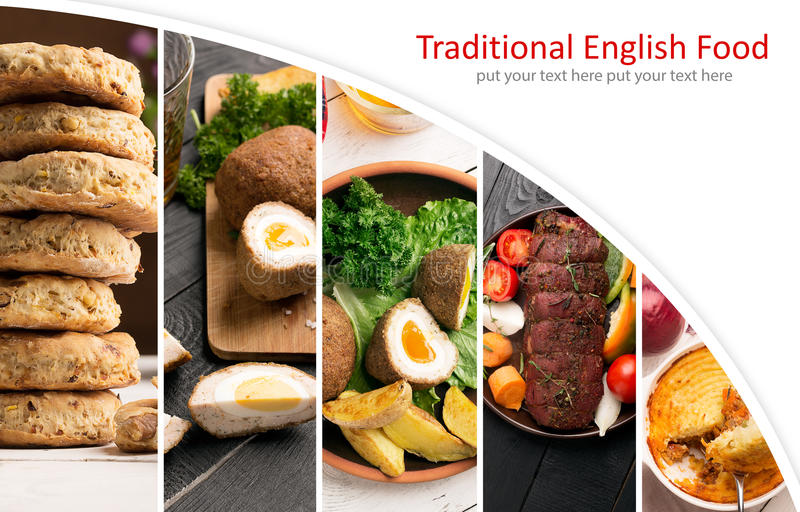 Traditional English Food. Photo collage with English cuisine stock photos