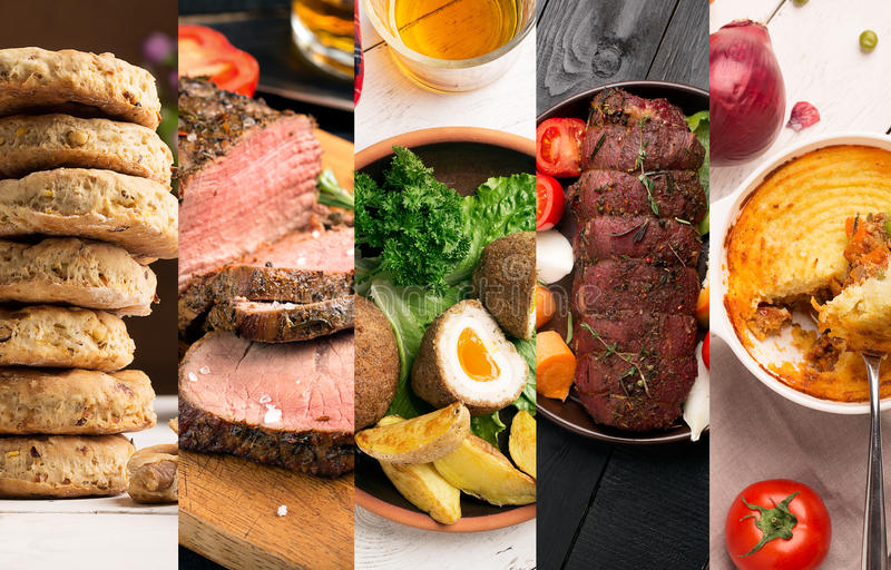 Traditional English Food. Photo collage with English cuisine stock images