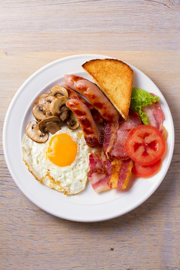Traditional English Or Irish Breakfast Sausages Bacon Egg