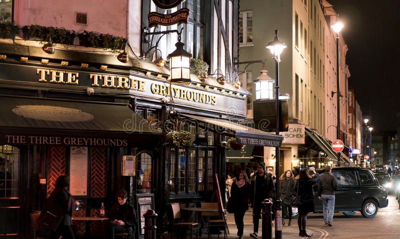 Traditional English Pub The Three Greyhounds in London SOHO district London UK stock image
