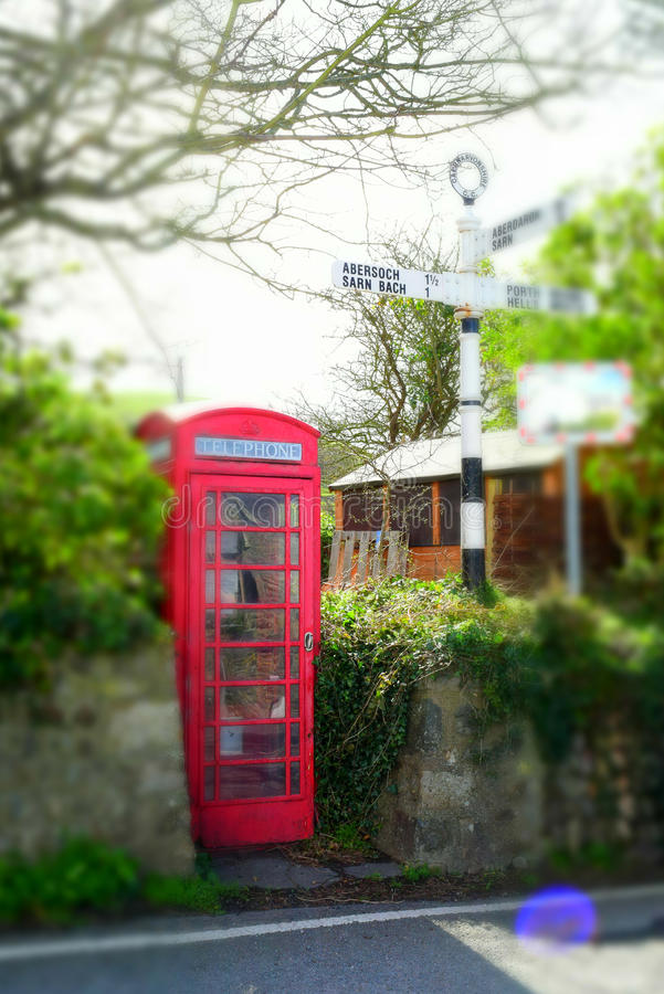 Traditional English telephone booth stock image