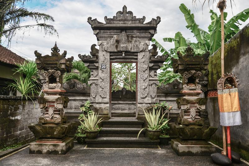 Traditional entrance gate in balinese house royalty free stock photo