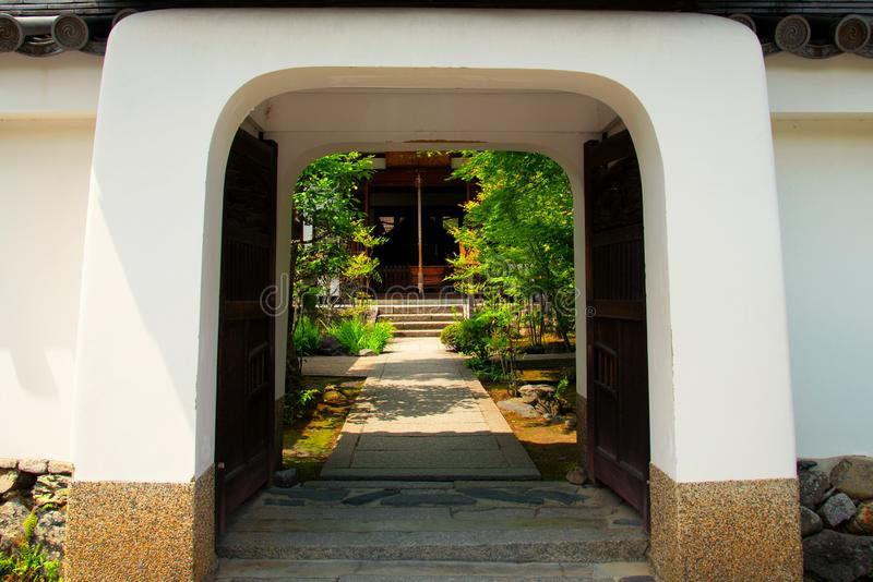 Traditional entrance to an ancient Japanese temple stock photo