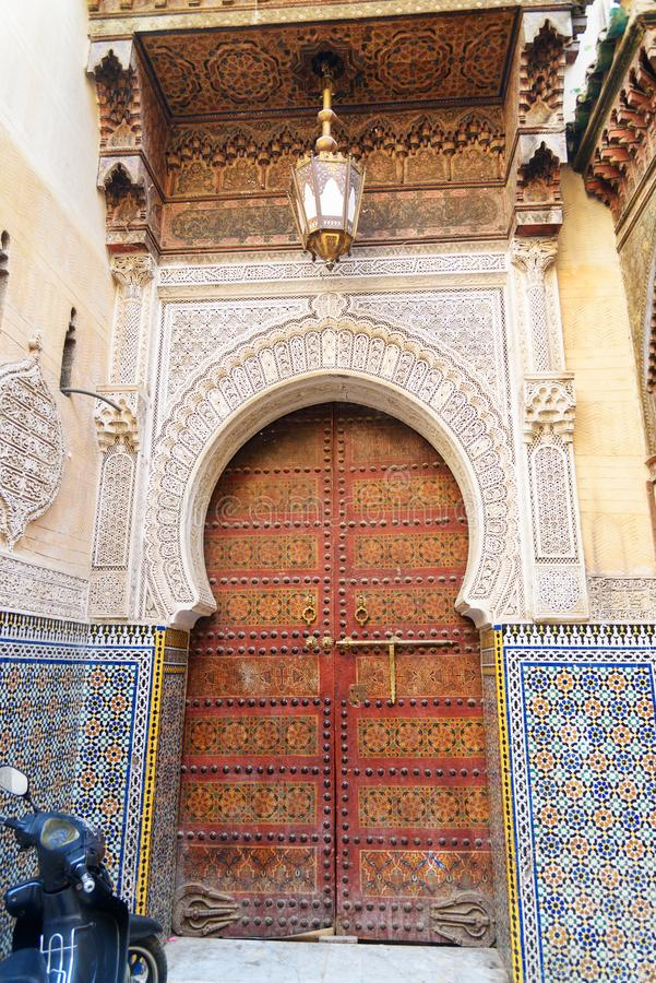 Traditional entry door to Kairaouin Mosque. Fes. Morocco royalty free stock photo