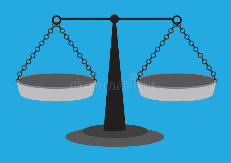 Traditional Equal Arm Beam Scales Vector Illustration. Old fashion weighing scale with equal arm beam and two suspended balancing pans isolated on blue plain stock illustration