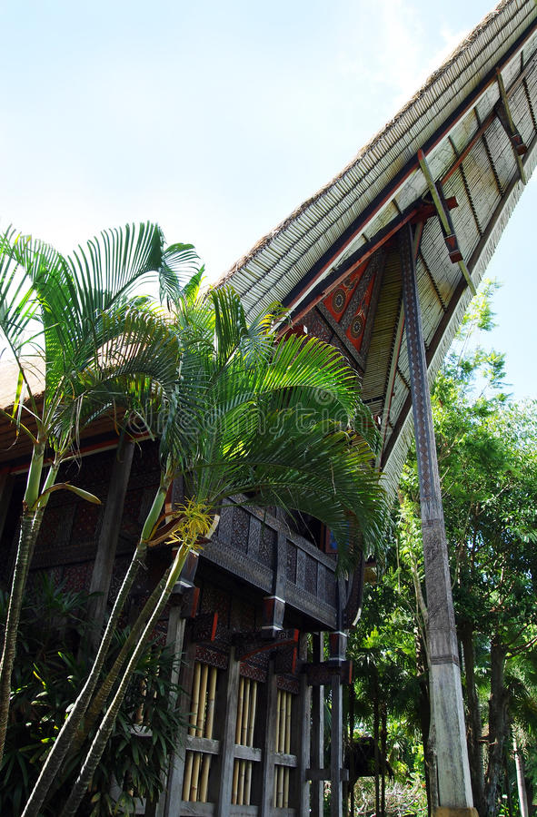 Traditional ethnic house of the original Sulawesi people, Indonesia. A photograph showing the details of a beautiful traditional antique wood and bamboo boat royalty free stock photo