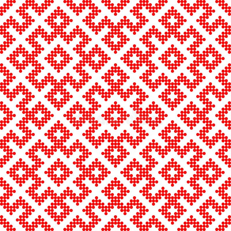 Seamless Traditional Russian ornament made by circles in red stock illustration