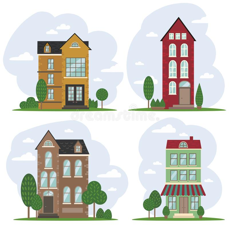 Traditional European architecture, old town houses. Amsterdam dutch style houses. Front view cityscape. Vector illustration design template royalty free illustration