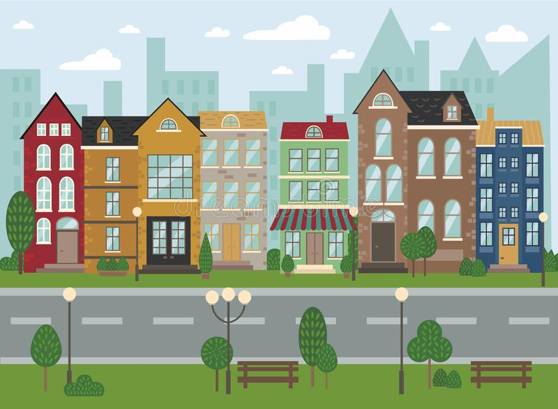 Traditional European architecture, old town street. Traditional European architecture, old town houses. Streetview. Amsterdam dutch style houses. Vector royalty free illustration