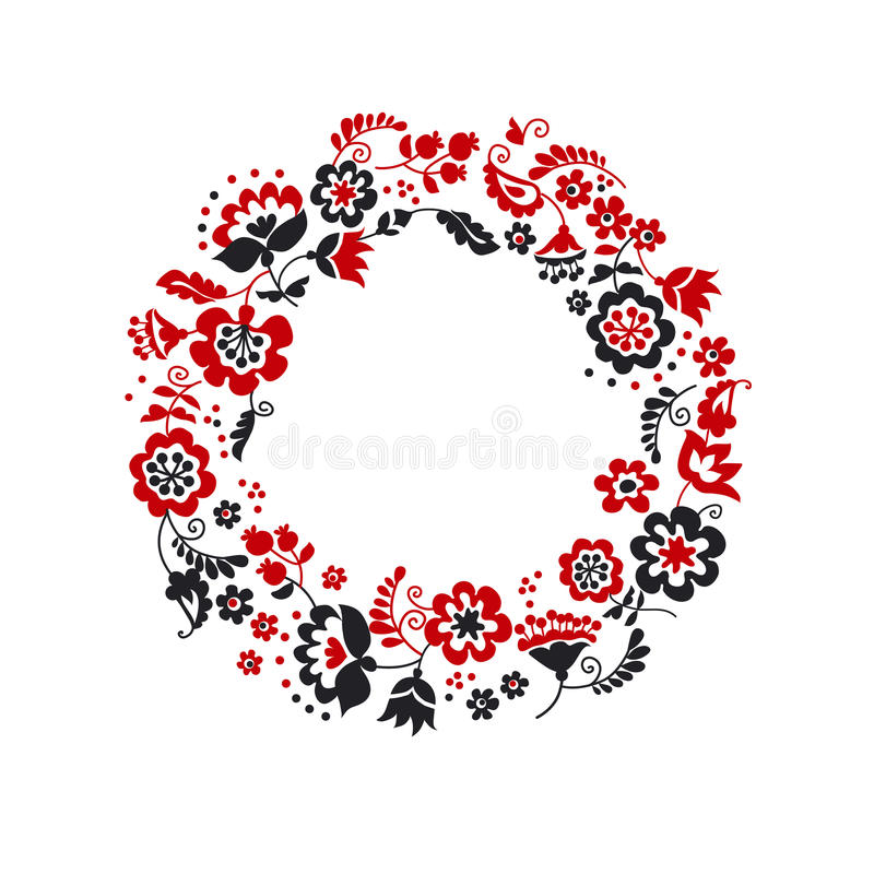 Traditional european ukrainian wreath ornament. Rustic floral composition. rural folk style flower element royalty free illustration