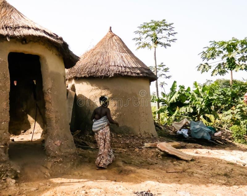 Traditional Ewe people village , Tatale region , Togo stock image