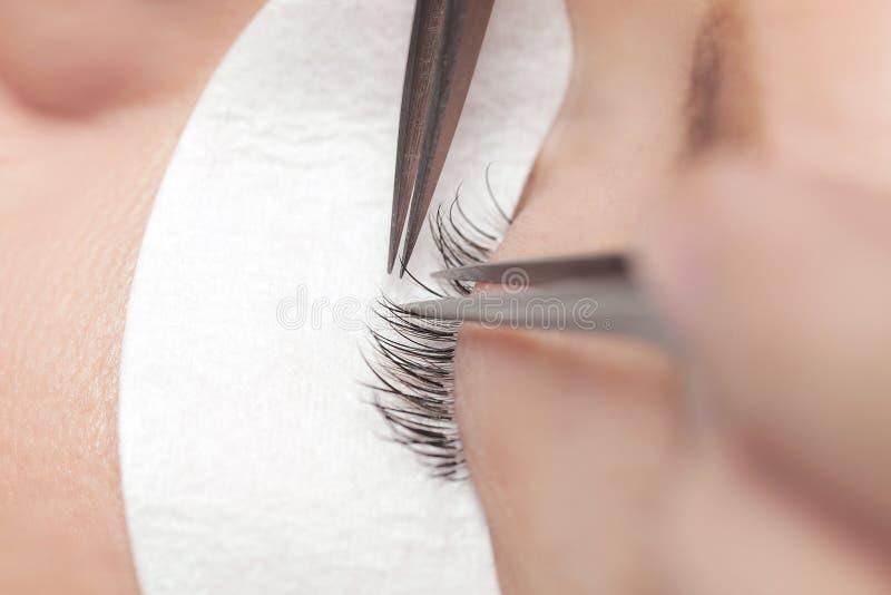 Traditional eyelash extensions. Selective focus. Makeup close-up. stock photos