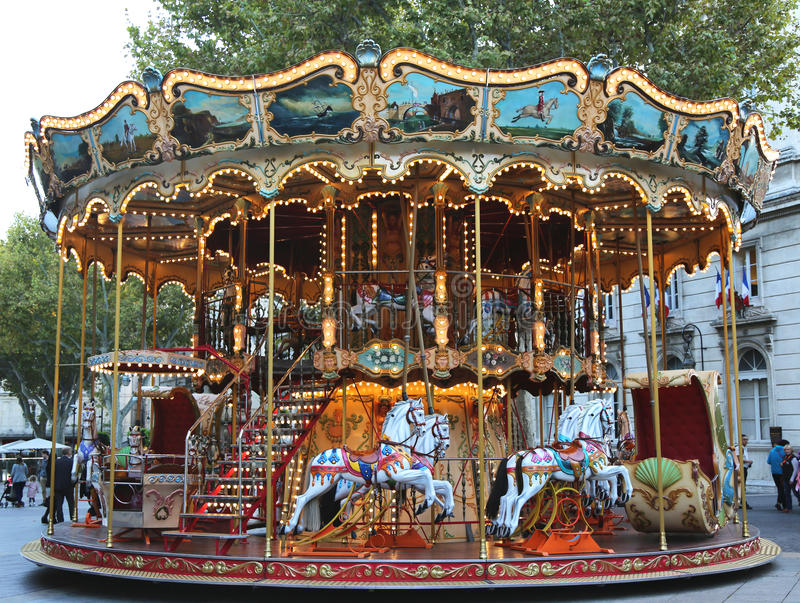 Traditional fairground carousel in Avignon, France royalty free stock images