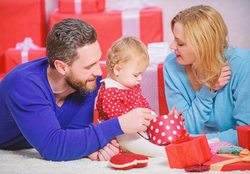 Traditional family values. Couple in love and baby are happy family. Family celebrate anniversary. Valentines day. Lovely family celebrate valentines day royalty free stock photo