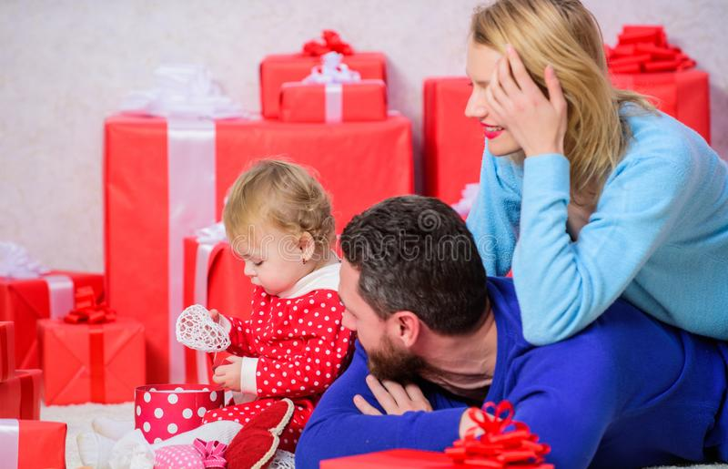 Traditional family values. Family celebrate anniversary. Valentines day. Lovely family celebrate valentines day. Happy. Parents. Couple in love and baby are stock images