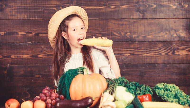 Traditional farm market. Kid farmer with harvest wooden background. Child celebrate harvesting. Girl kid farm market. With fall harvest. Family farm festival stock images