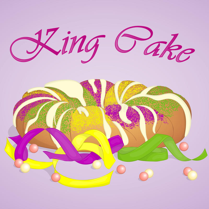 Traditional festive King Cake to celebrate Mardi Gras. Festive beads and ribbons surround the cake. Background for Fat. Tuesday in simple cartoon style. Vector stock illustration