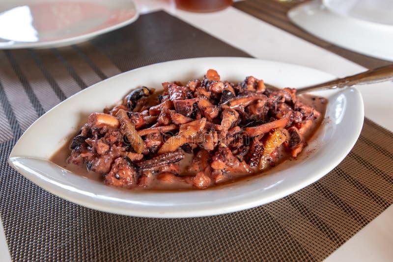 Traditional Filipino Food - Pusit Adobo stock image