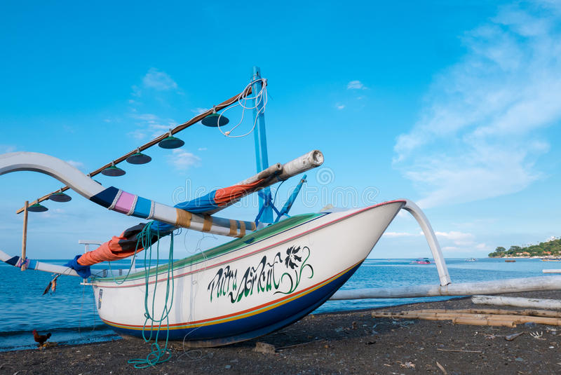 Traditional fisher boat at beautiful Amed beach in Bali, Indonesia. stock images