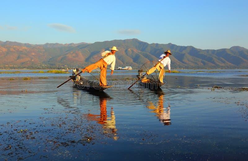 Traditional fishermen at Inle lake in Myanmar royalty free stock image