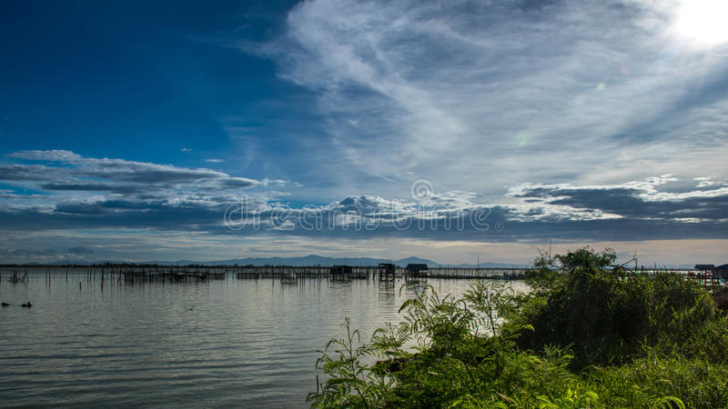 Traditional fishermen wooden houses in Songkhla Lake, Thailand. stock photography
