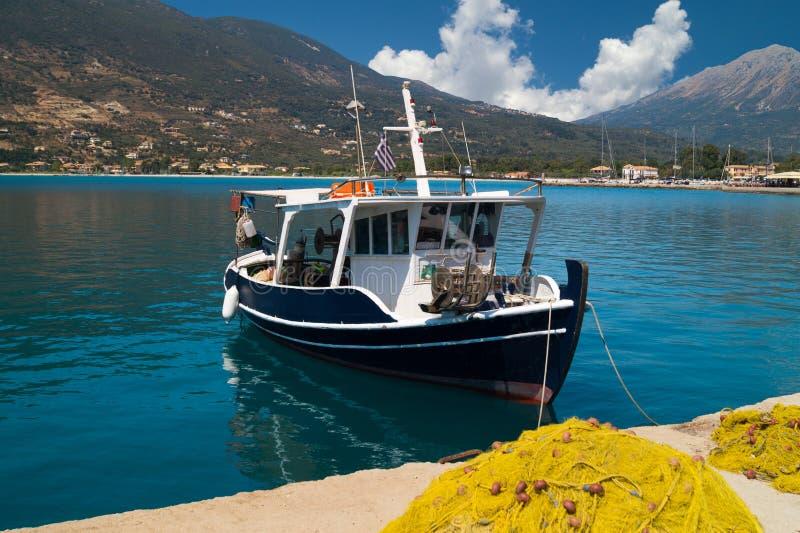 Traditional fishing boat at Lefkada island royalty free stock photo