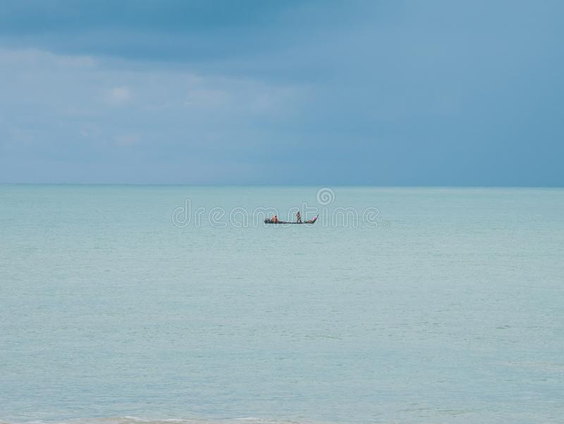 Traditional Fishing Boat in the Middle of the Sea. Fishing with Fishing Nets, Located in Langkawi Island Malaysia royalty free stock image