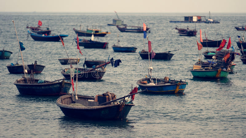 Boats on coast of Vietnam stock images