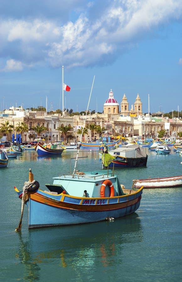Free Traditional Fishing Boats Marsaxlokk Harbour Malta Stock Image - 42753381