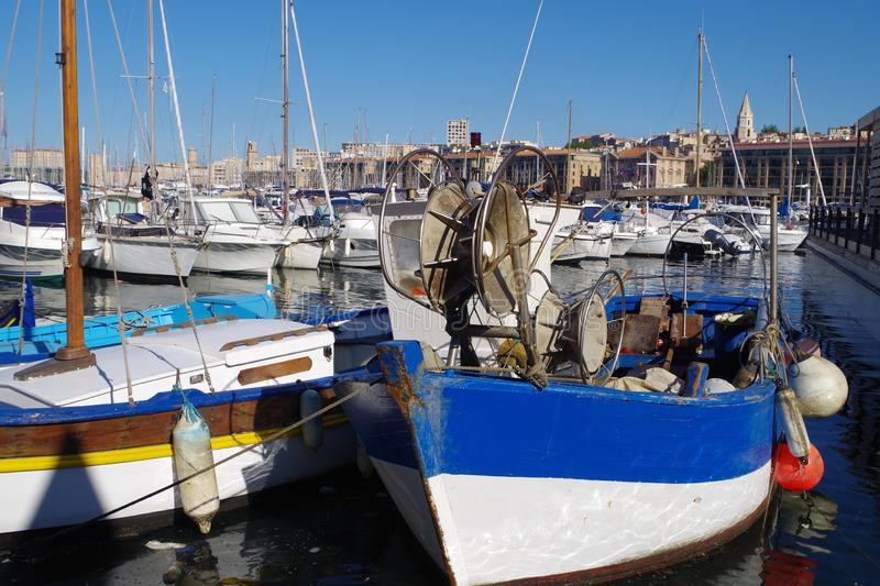 Traditional fishing boats in a Mediterranean port. Picture of colored traditional fishing boats in a Mediterranean port stock image