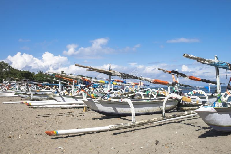 Traditional Fishing Boats Parking on the Senggigi Beach royalty free stock photo