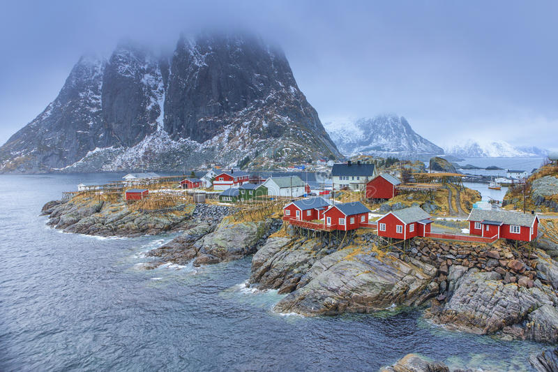 Traditional Fishing Hut Village in Hamnoy During Early Spring Time in Lofoten Islands, Norway. Travel Concepts and Ideas. Traditional Fishing Hut Village in stock image