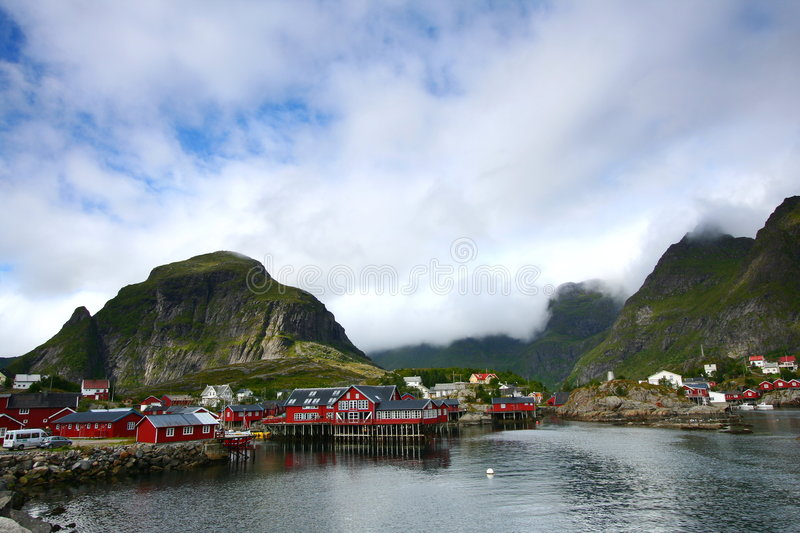 Traditional fishing norway village stock photos