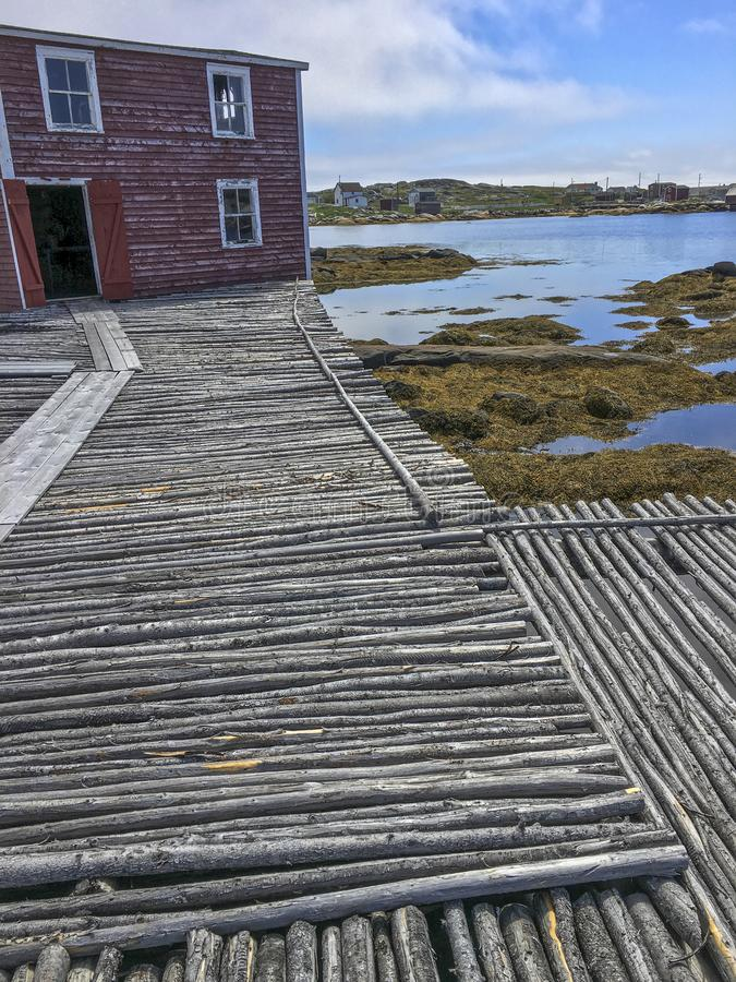 Fishing stage and flakes on Fogo Island stock image