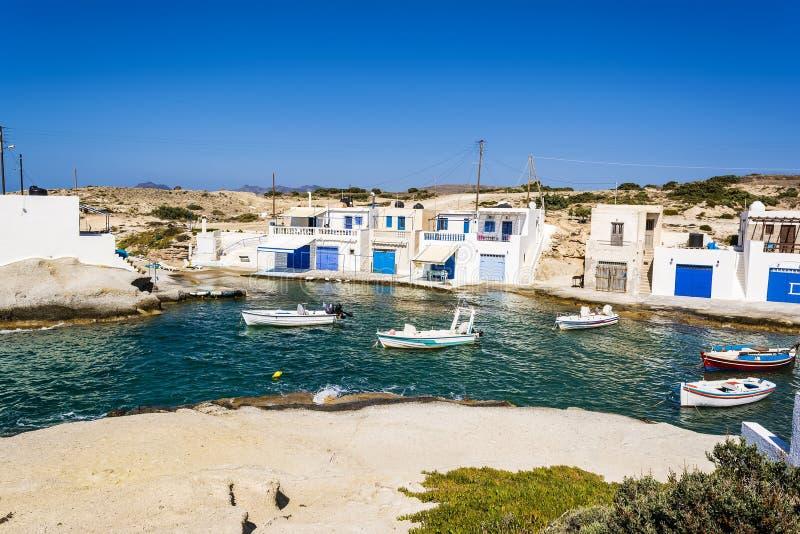 Traditional fishing village on Milos island at Greece stock image