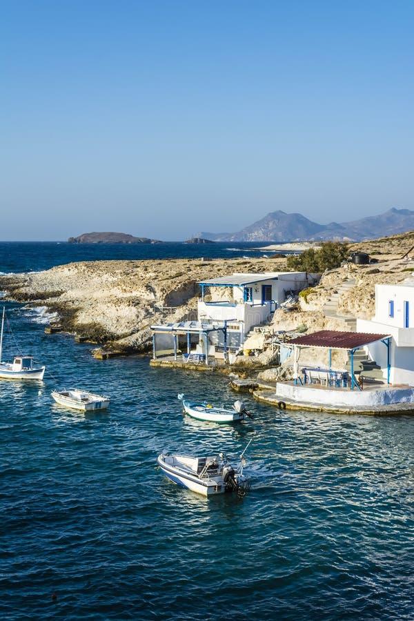 Traditional fishing village on Milos island at Greece stock photos
