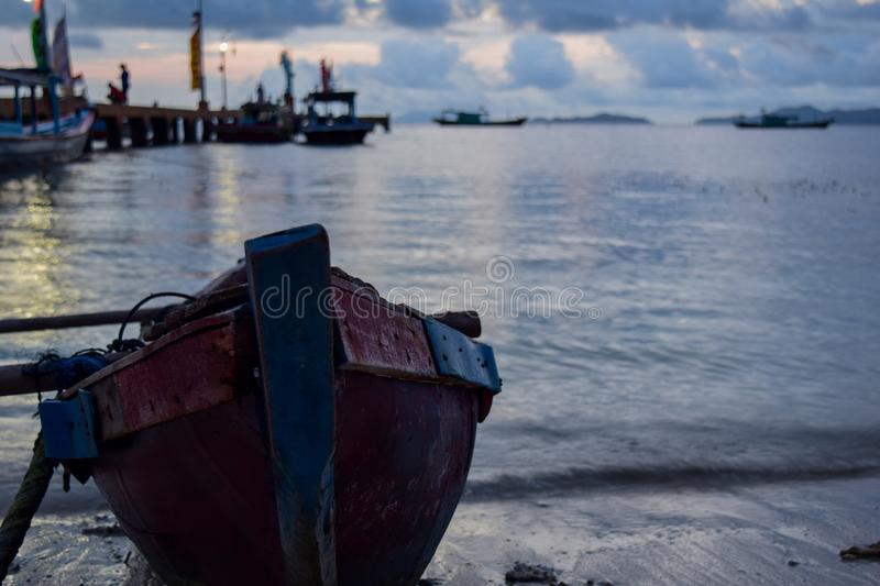 Traditional fishing wooden boat near pahawang island. Bandar Lampung. Indonesia. Traveling concept. Upload at Lampung, Indonesia in January 2019 royalty free stock photo