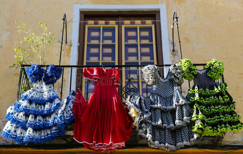 Download Traditional Flamenco Dresses At A House In Malaga, Andalusia, Sp Stock Photo - Image of andalusian, landmark: 49320326