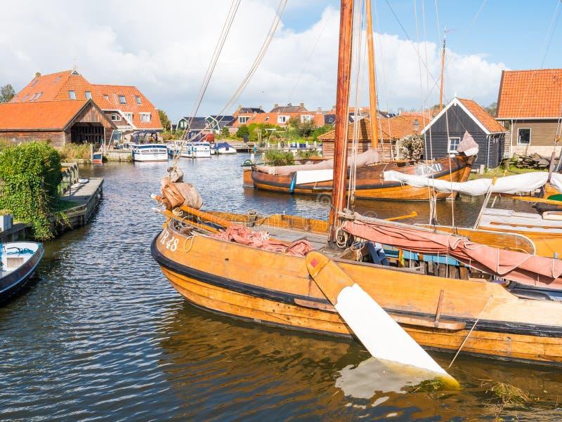Traditional fishing boats in shipyard Blazerhaven in Workum, Fri stock image